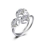 925純銀鑲鑽戒指-時尚精美三隻小魚生日情人節禮物女飾品73kz5[時尚巴黎]