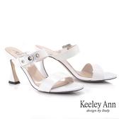 Keeley Ann我的日常生活 一字素面透明釦拖鞋(白色) -Ann系列
