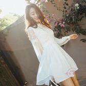 聖誕交換禮物 露背洋裝 女裝正韓網紗蕾絲繡花連身裙洋裝白色露背透視中長版子潮