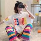 韓國半袖純棉睡衣女夏天網紅薄款短袖長褲全棉學生套裝字母家居服「時尚彩紅屋」
