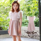 女童洋裝 滿版白小樹荷葉網紗飛袖連身裙 韓國外貿中大童 QB allshine