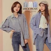 長袖 襯衫 Space Picnic|經典直條紋寬鬆長袖襯衫(現貨)【C19123026】