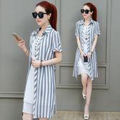 雪紡連衣裙短袖新款韓版條紋修身原宿復古夏季兩件套裝 QQ1405『MG大尺碼』