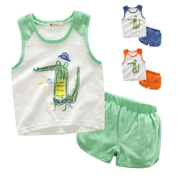 童褲 小鱷魚竹節棉套裝 背心上衣+短褲 橘魔法 Baby magic 現貨 兒童 童裝
