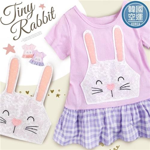 韓國童裝~蕾絲長耳兔接格小洋裝-2色(270596)★水娃娃時尚童裝★