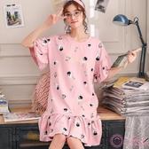 中大尺碼睡裙女 夏季正韓棉質短袖睡衣寬鬆可愛全棉女士裙子家居服 M-3XL碼