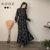 東京著衣【KODZ】秋意印花細百褶荷葉邊多色附綁帶長洋裝(191449)