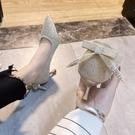 單鞋女秋季新款氣質蝴蝶結中跟細跟高跟鞋仙女風女鞋結婚鞋伴娘鞋 快速出貨