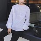 FINDSENSE 品牌 男士襯衫 精致圓領套頭襯衫袖口折疊純色襯衫