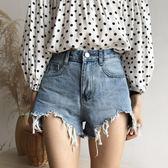 牛仔褲 新款寬松韓版大碼胖mm高腰流蘇毛邊破洞闊腿熱褲 巴黎春天