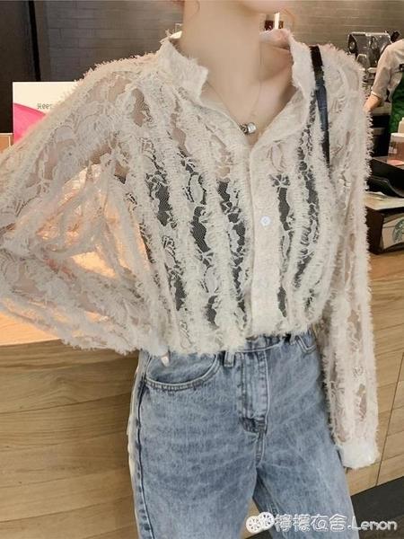 蕾絲衫 新款鏤空很仙的洋氣蕾絲心機襯衫上衣女chic小眾設計感 檸檬衣舍 10-17