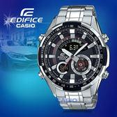 CASIO手錶專賣店 CASIO EDIFICE_ERA-600D-1A_世界時間_LED_溫度計_不鏽鋼錶帶_男錶_全新品