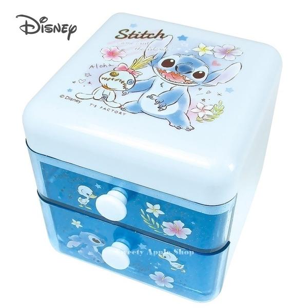 日本限定 迪士尼 史迪奇& 醜ㄚ頭 桌上型 雙層抽屜收納盒/ 文具收納盒