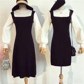 秋冬女新款初戀裙復古收腰長袖打底背帶裙假兩件套針織洋裝  居家物語