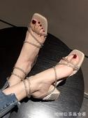 涼鞋女新款韓版時尚水鑽高跟鞋粗跟露趾鞋糖糖女屋