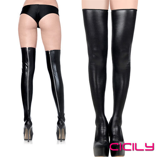 情趣商品 角色扮演 cosplay 虐戀精品CICILY 金屬拉鍊高筒 漆皮 長筒襪大腿襪 黑 +潤滑液60ml