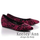 ★零碼出清★Keeley Ann優雅迷人~蕾絲花紋馬毛真皮軟墊尖頭鞋(玫紅色)