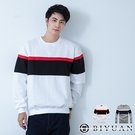 【OBIYUAN】刷毛T 不起毛球 MIT 橫條撞色 拼接 長袖T恤 上衣 共2色【HJ5611】