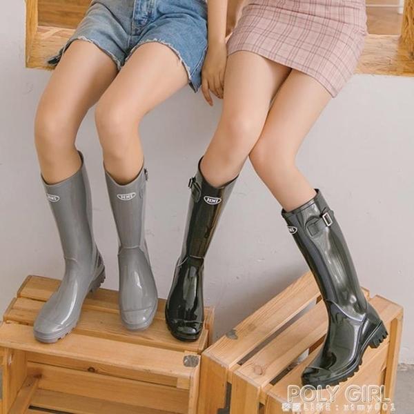 HNI時尚雨鞋女成人膠鞋高筒雨靴長筒水靴可愛水鞋防滑套鞋外穿 poly girl