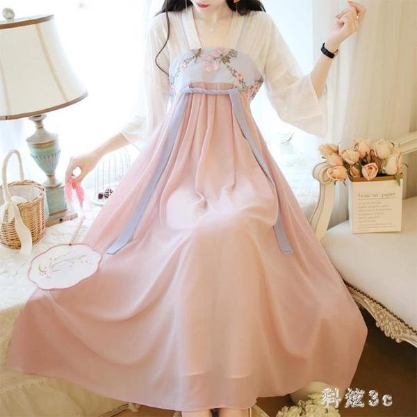 過膝飄逸漢服超仙改良雪紡連身裙中國風復古仙女刺繡厭世風長裙潮 FX4174 【科炫3c】