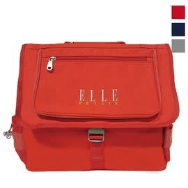 Backbager 背包族【ELLE Petite】經典素色橫式書包/書包/後背書包/背包 藍色/紅色/灰色