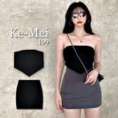 克妹Ke-Mei【AT69255】HOT甜辣小惡魔彈力平口抹胸+高腰包臀短裙
