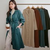 MIUSTAR 翻領排釦附綁帶棉麻洋裝(共4色)【NH2169】預購
