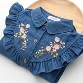 女童牛仔襯衫中大童長袖襯衣刺繡外套