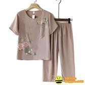 兩件式棉麻褲裝 中老年人夏季純棉麻套裝休閒大碼媽媽洋氣女裝夏天姥姥奶奶兩件套【happybee】