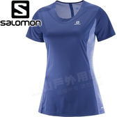 Salomon 397526中古藍/礦藍 女Agile短袖排汗透氣T恤 登山機能上衣/運動排汗衫/健行慢跑休閒服