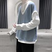 長袖男寬鬆假兩件t恤衛衣純色衣服【橘社小鎮】