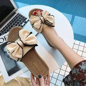 新款沙灘拖鞋女夏蝴蝶結厚底一字拖平底防滑時尚外穿海邊度假涼拖【滿一元免運】