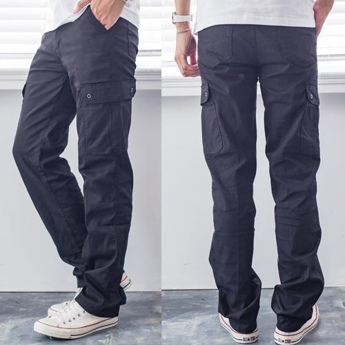 純黑涼感透氣多口袋設計工作褲