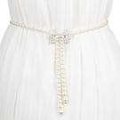 腰封 珍珠腰帶裝飾細鍊條女士百搭白色配連...