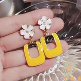 黃色耳環潮耳墜女韓國氣質純銀耳釘花朵夸張大耳飾【奇妙商鋪】