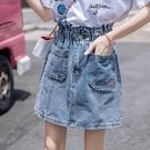 2021春夏季新款高腰牛仔半身裙女百搭復古a字大碼胖mm包臀短裙子 果果輕時尚
