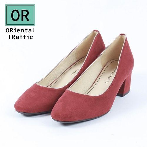 【ORiental TRaffic】純色金線微方頭中跟鞋-復古紅