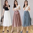 VK精品服飾 韓國風優雅時尚百褶雪紡氣質單品長裙