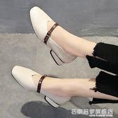 高跟鞋 方頭粗跟中跟復古奶奶鞋一字扣單鞋正韓女鞋高跟鞋女  『名購居家』