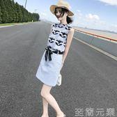 套裝裙 2018夏裝新款韓版女裝印花雪紡連身裙無袖短裙氣質套裝裙兩件套潮 至簡元素