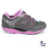 SKECHERS 新竹皇家 SRR 灰紫 回彈力慢跑鞋系列 網布 皮質 慢跑鞋 女款 NO.I7612