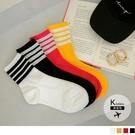 《ZB1192》韓國製撞色線條休閒襪 OrangeBear