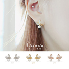 S925純銀天然淡水珍珠蝴蝶耳環-維多利亞160411