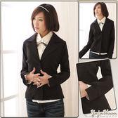 西裝外套--穿出細緻知性的專業感-韓版基本款包扣收腰西裝外套(S-2L)-K05眼圈熊中大尺碼★