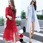 【韓國KW】(預購)M~3XL 簡約純色透氣防曬雪紡罩衫