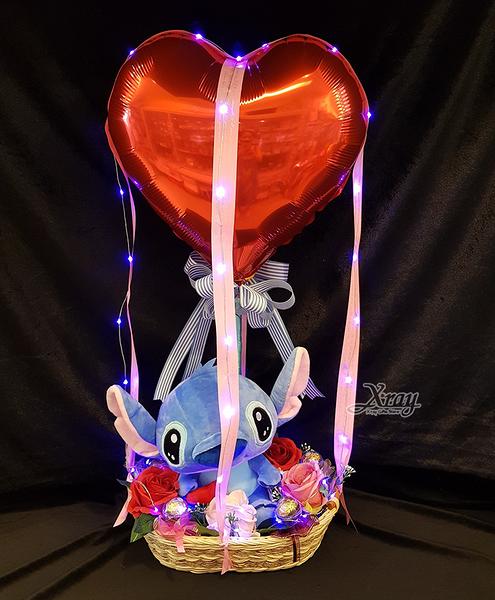 10吋抱心史迪奇幸福熱氣球,情人節禮物/熱氣球/金莎花束/亮燈花束,節慶王【Y572452】