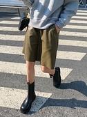 短褲 女簡約2021春季高腰a字顯瘦寬鬆闊腿外穿百搭休閒五分中褲 【免運快出】