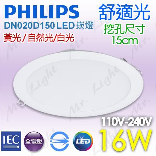 【有燈氏】PHILIPS 飛利浦 16W LED 平板崁燈 15公分 15cm 黃 白 自然光【DN020D150】