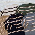 洋芋妹-730雙色寬細橫條紋針織長袖上衣 5色【SB12496】