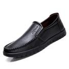 新款豆豆鞋男鞋子韓版潮流英倫百搭爸爸男士黑色休閒皮鞋 萬客居